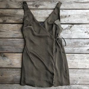 Enigmatic Olive Green Satin Wrap Dress